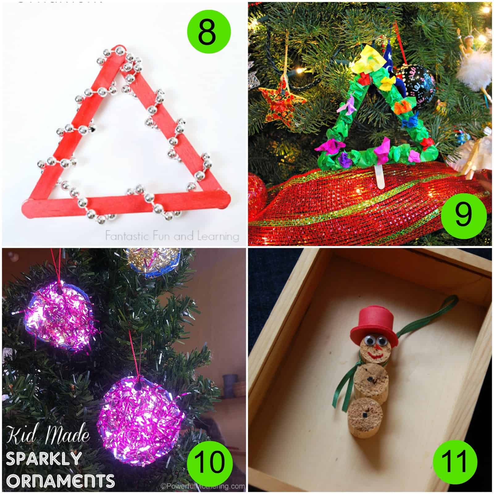 Handmade christmas tree ornaments ideas - Easy Beaded Christmas Tree Ornament From Fantastic Fun And Learning 9 Making Ornaments From Mess For Less 10 Sparkly Tinsel Ornaments From Powerful