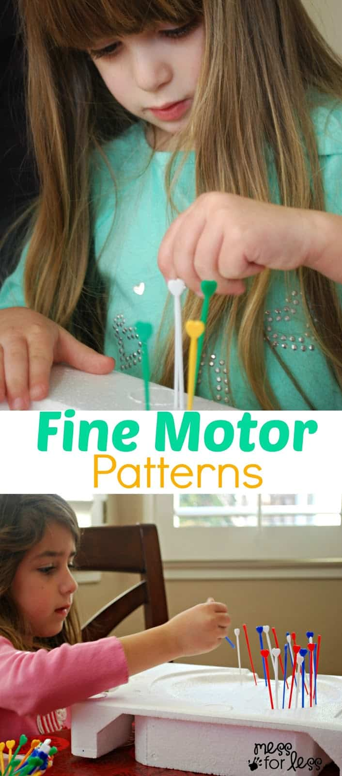 Fine Motor Patterns - making patterns in foam using colored picks.