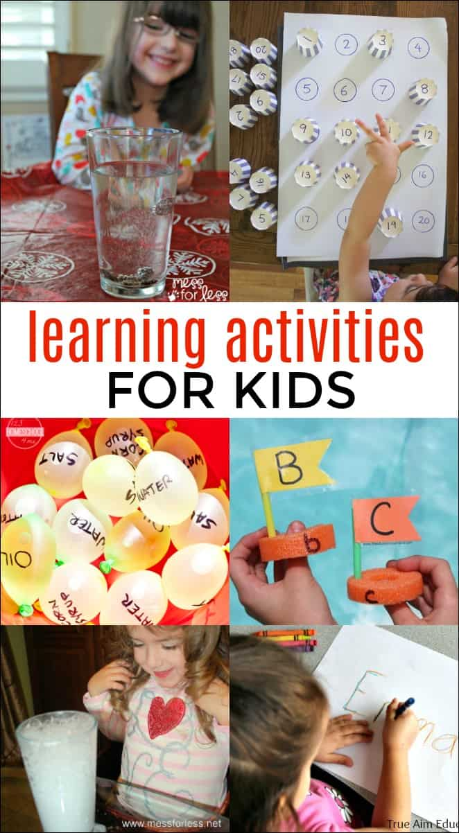 12 Learning Activities for Kids - Kids learn best through play and these fun activities will help them learn while having fun. #learningactivities #kidsactivities