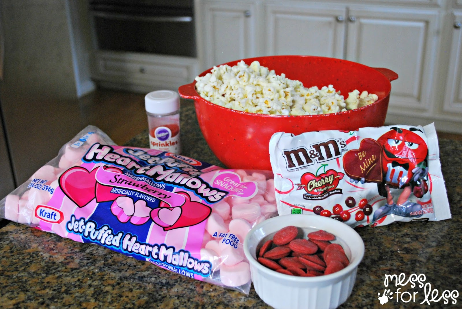 ingredients for Valentine's day popcorn