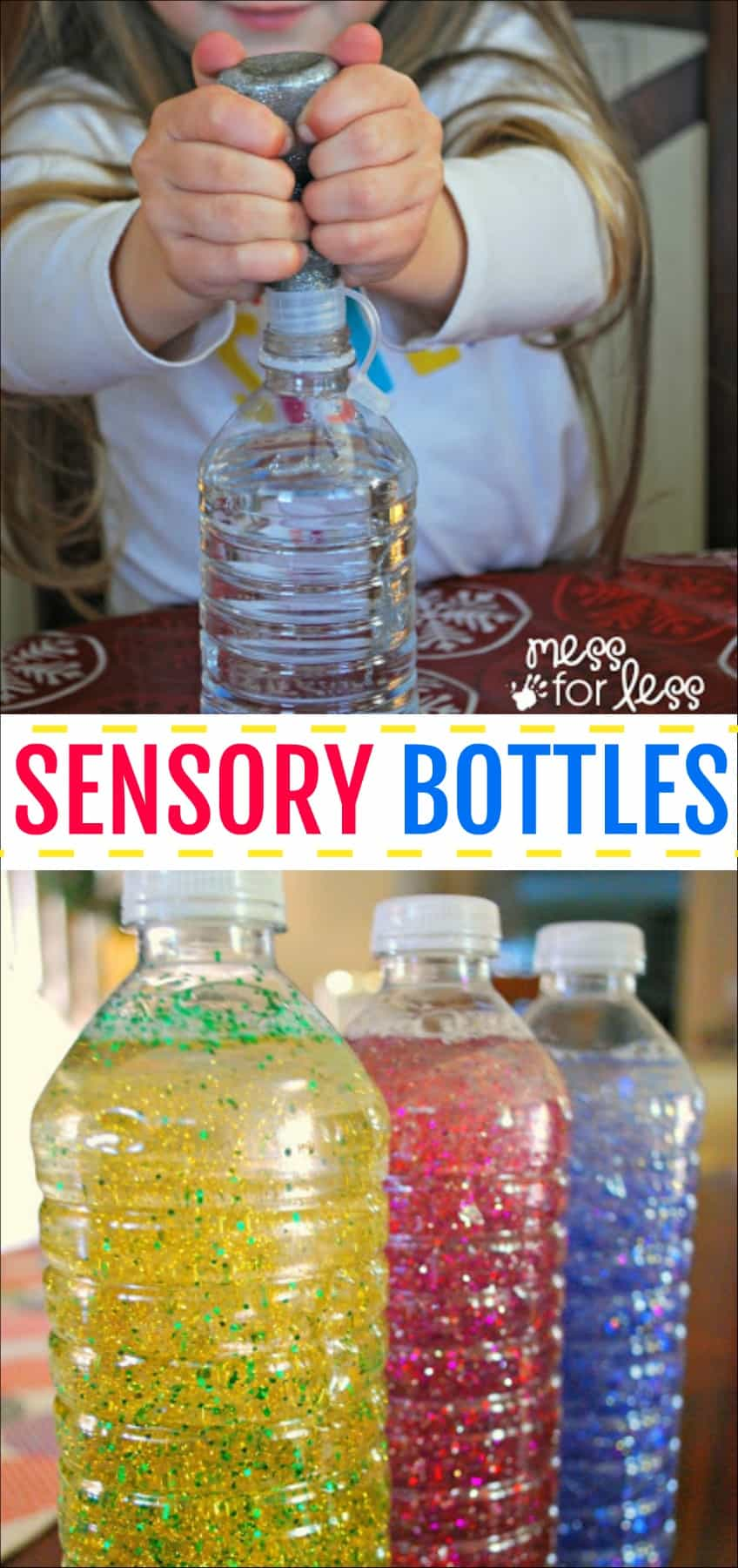 Sensory bottles - these calming bottles are great for little ones to explore and for preschoolers to use during a cooling off period. #sensorybottles #calmingbottles #mindfulnessjar