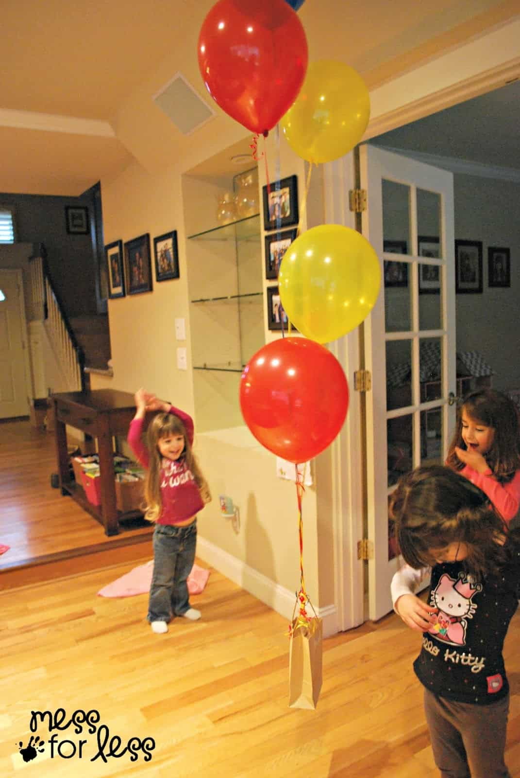 Balloons lifting a bag
