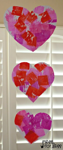 Valentine's Day Mobile with Tissue Paper Dyed Hearts