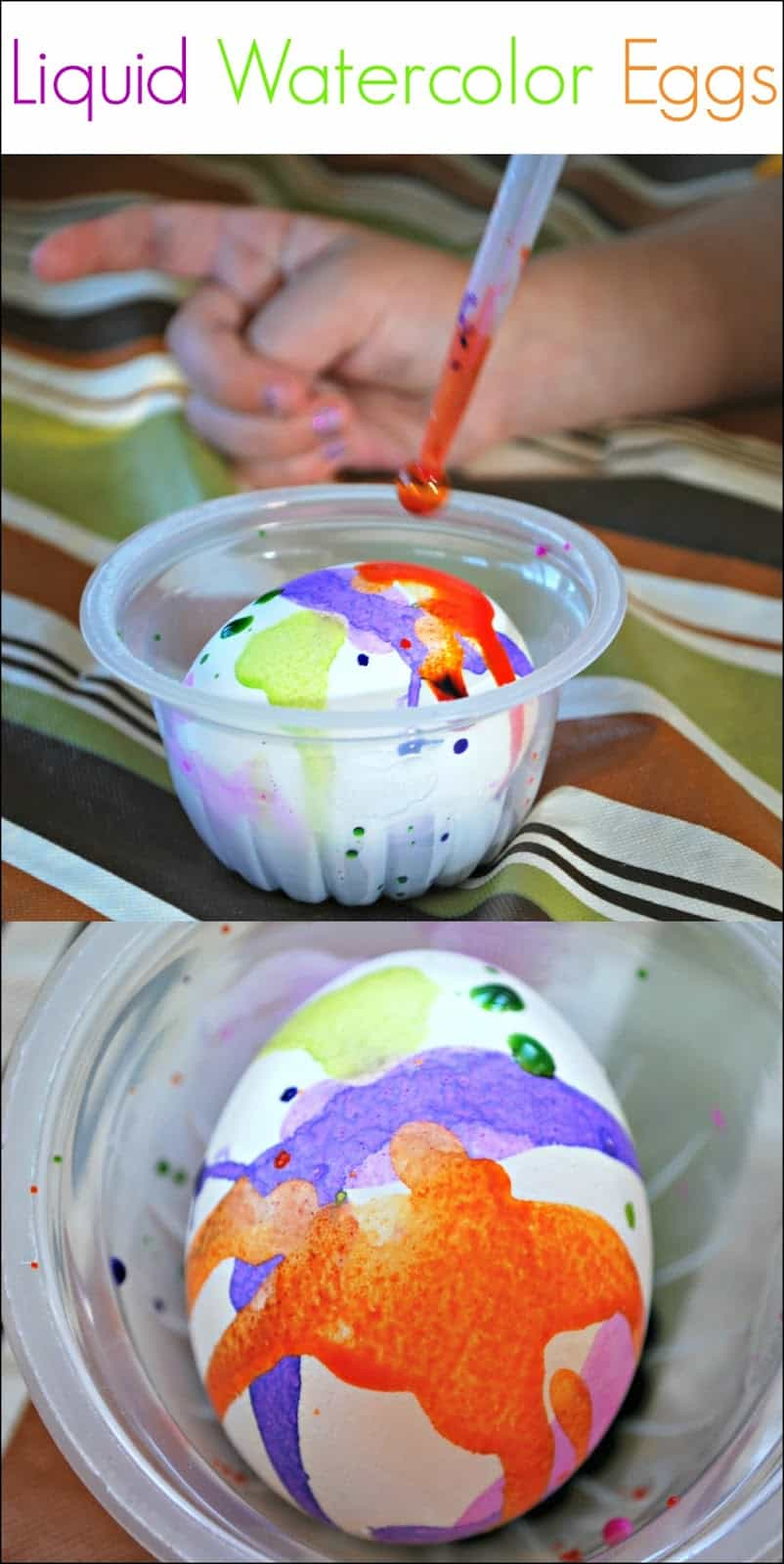 Liquid Watercolor Decorated Eggs - Using droppers and liquid watercolors to create vibrantly colored eggs.