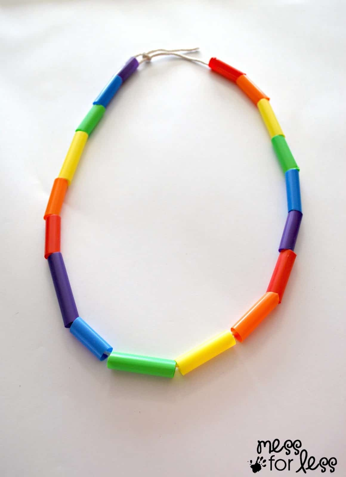Rainbow necklace made from straws