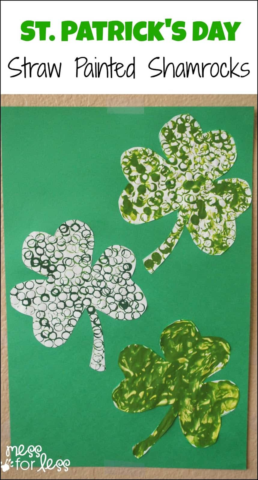 St. Patrick's Day Straw Art Activity - Decorate shamrock by stamping with a straw.