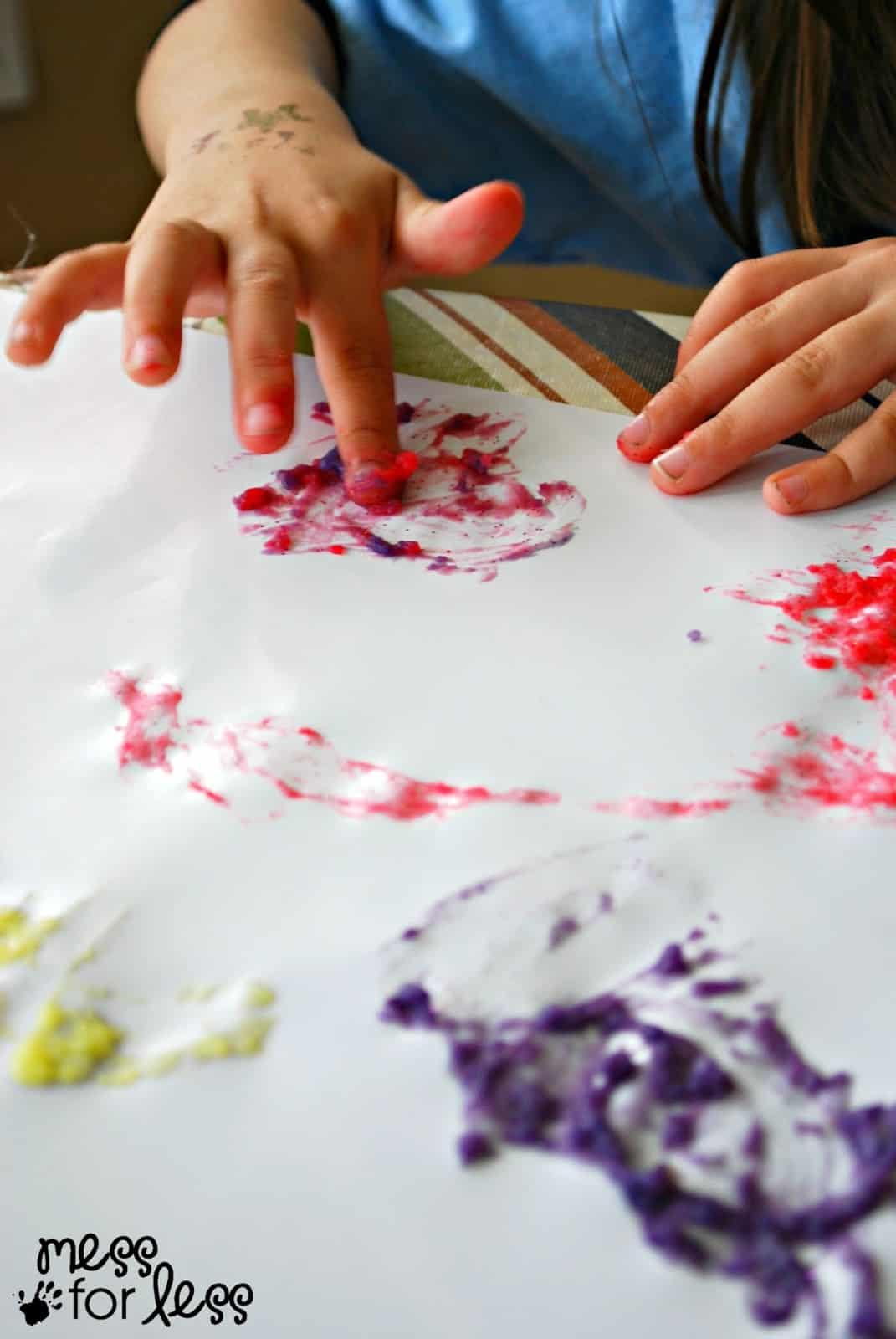 mixing finger paint
