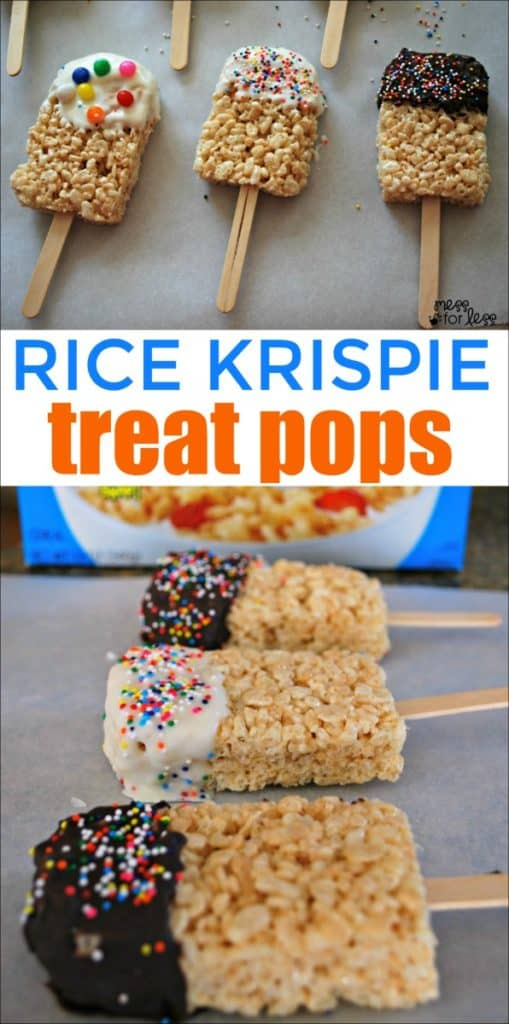Rice Krispies Treat Pops - It is simple to make these festive treats with kids. #ricekrispiestreats #cookingwithkids #kidsinthekitchen