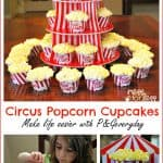 Circus Popcorn Cupcakes and Circus Party Ideas