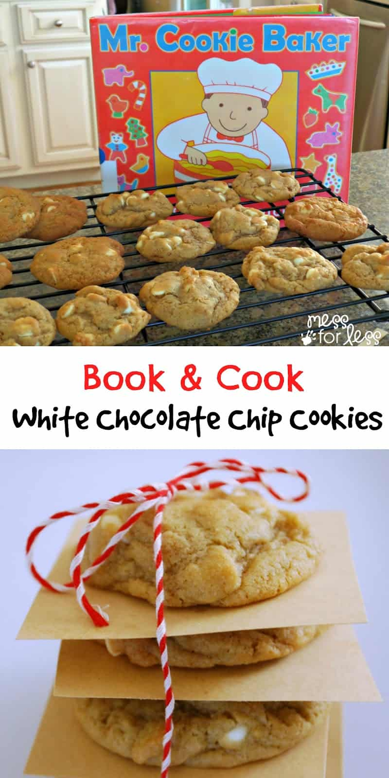 Book and Cook - White Chocolate Chip Cookies. We made this cookies after reading the book Mr. Baker. A great way to bring a book to life!