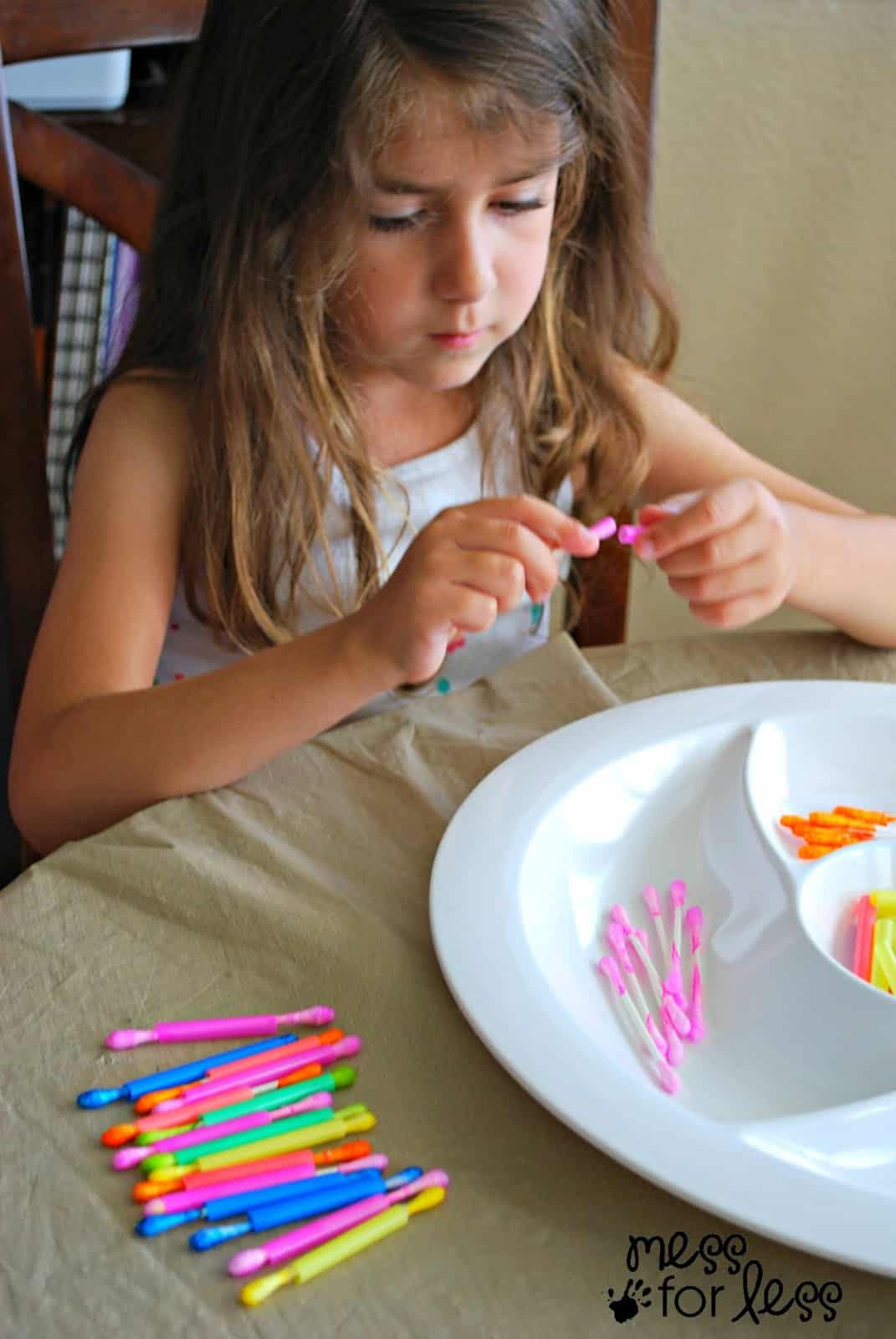 q tips and straws fine motor skills activity mess for less. Black Bedroom Furniture Sets. Home Design Ideas