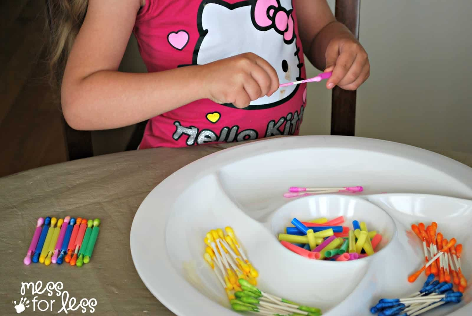 fine motor play with q-tips