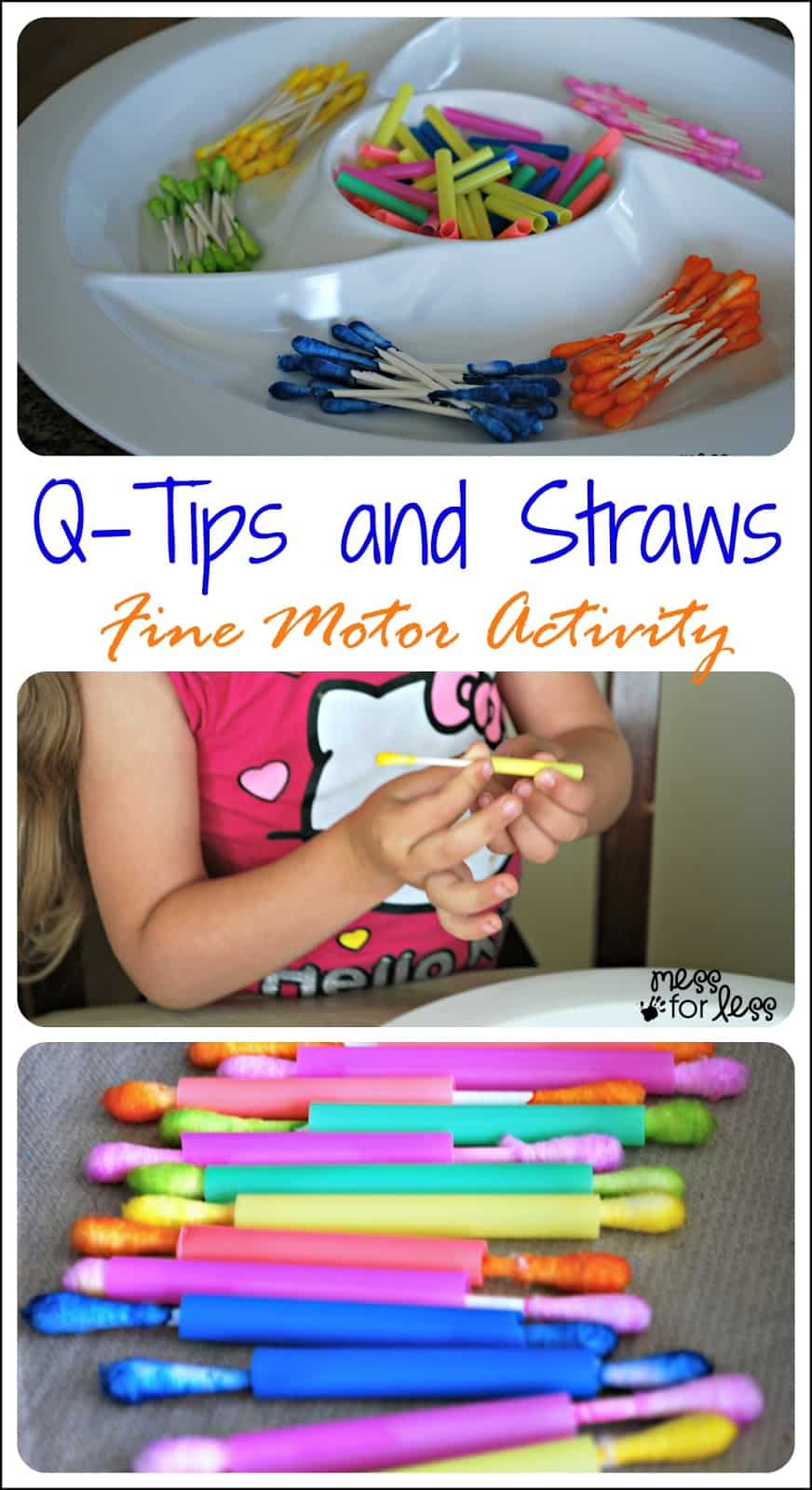 Q-Tips and Straws - Fine Motor Skills Activity