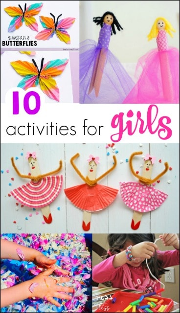 There are the best activities around for girls! If you have a girly girl, here are some great ideas for keeping her entertained. #kidsactivities #girlsactivities
