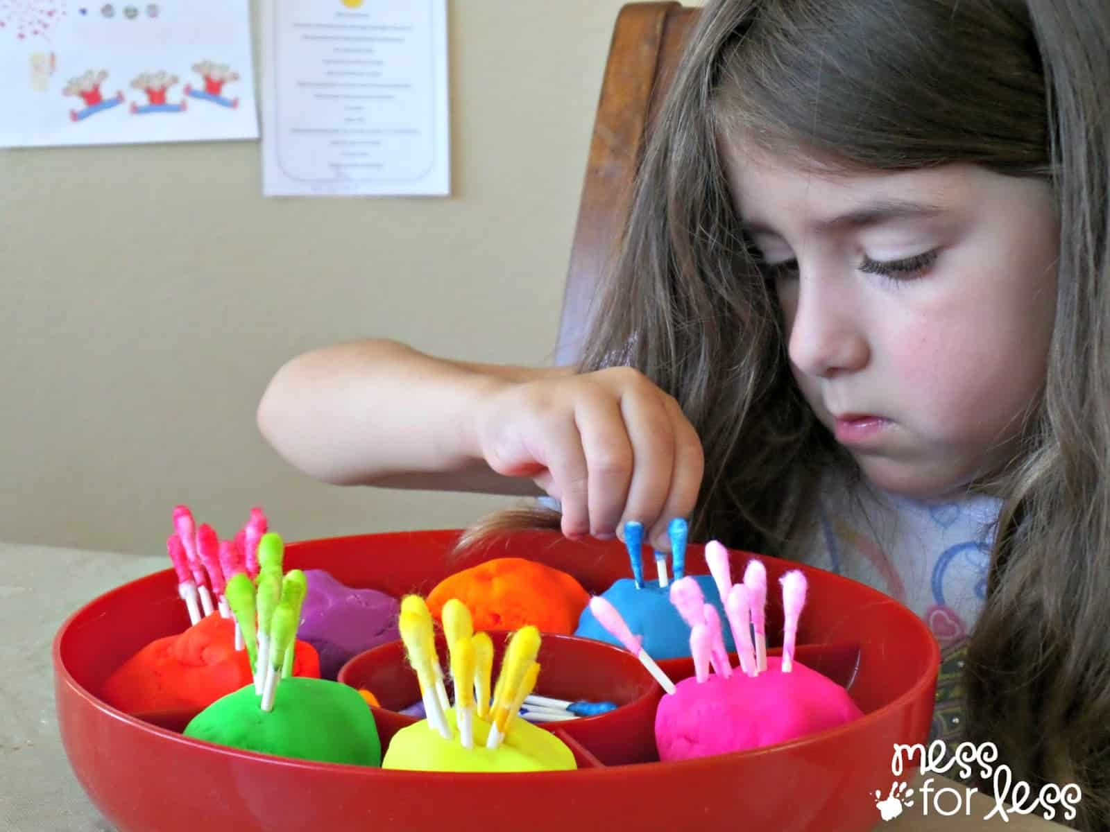 fine motor activity with playdough and q tips mess for less. Black Bedroom Furniture Sets. Home Design Ideas