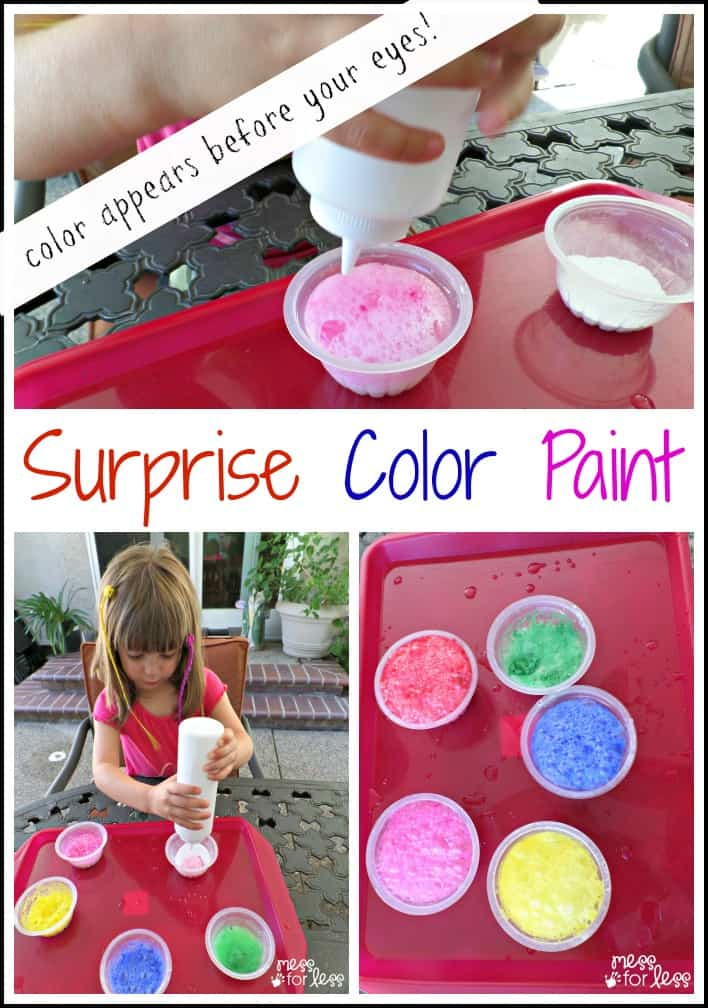 Surprise Color Sidewalk Paint - This paint recipe is so much fun to make because kids have no idea what color they will be making until it appears in a bubbling reaction.