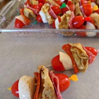 Italian Appetizers – Tortellini Salad Skewers
