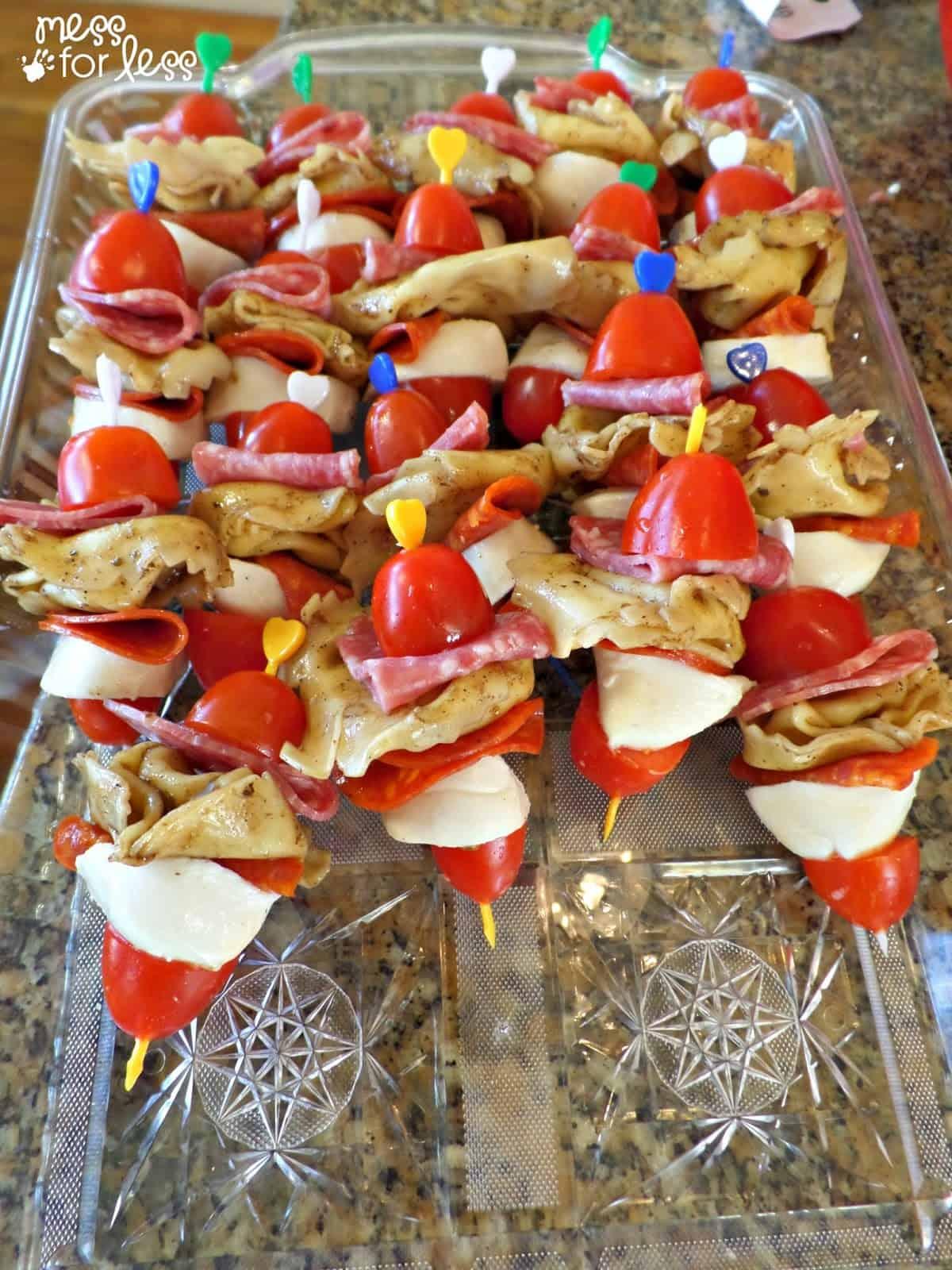 Italian Appetizers - Tortellini Salad Skewers - Mess for Less   1200 x 1600 jpeg 418kB