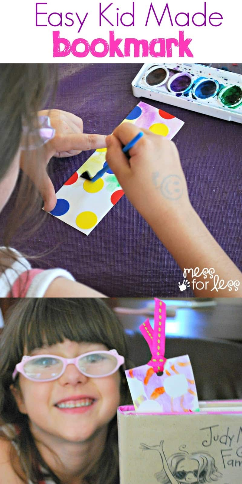 Easy Kid Made Bookmark - watercolor resist bookmarks are easy to make and fun to use and give as gifts.