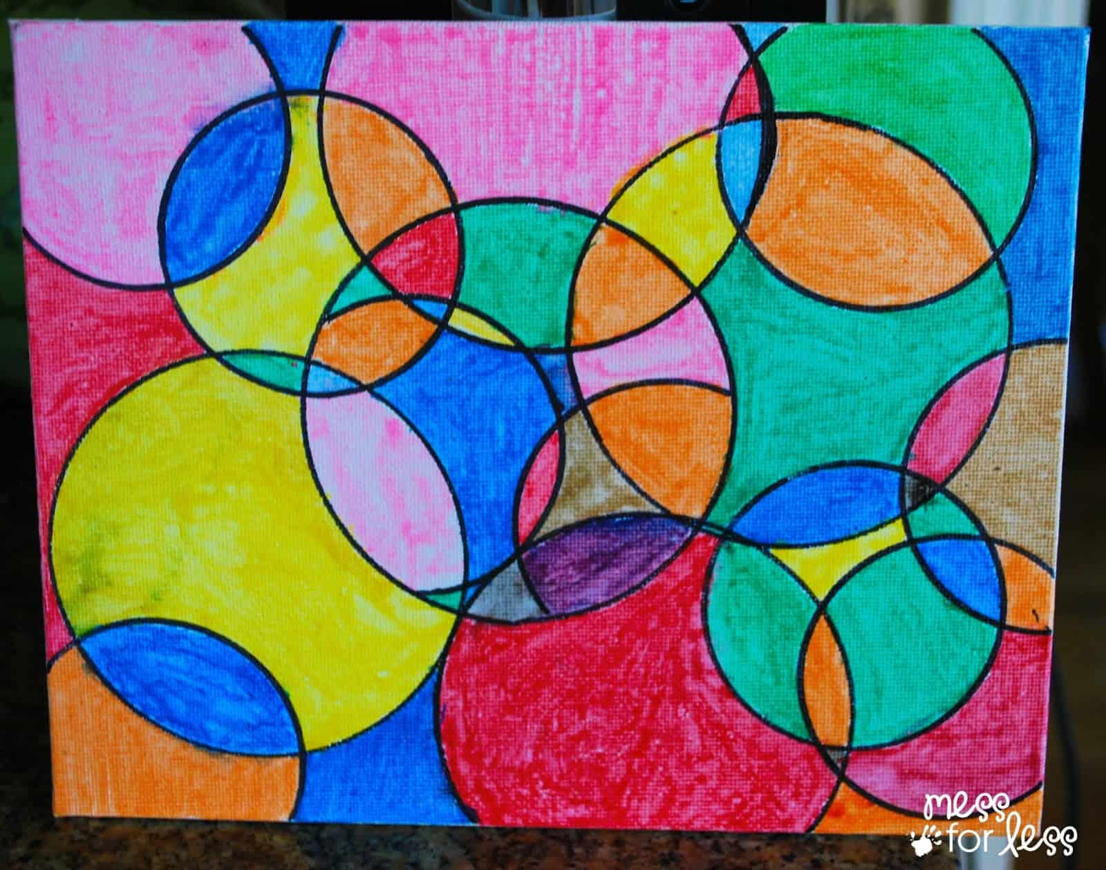 Watercolor circle art mess for less for Simple watercolor paintings for kids
