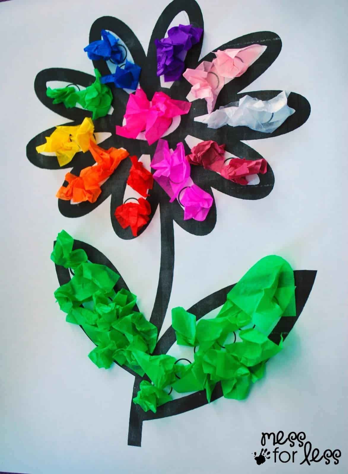 Tissue paper flower art activity mess for less mightylinksfo