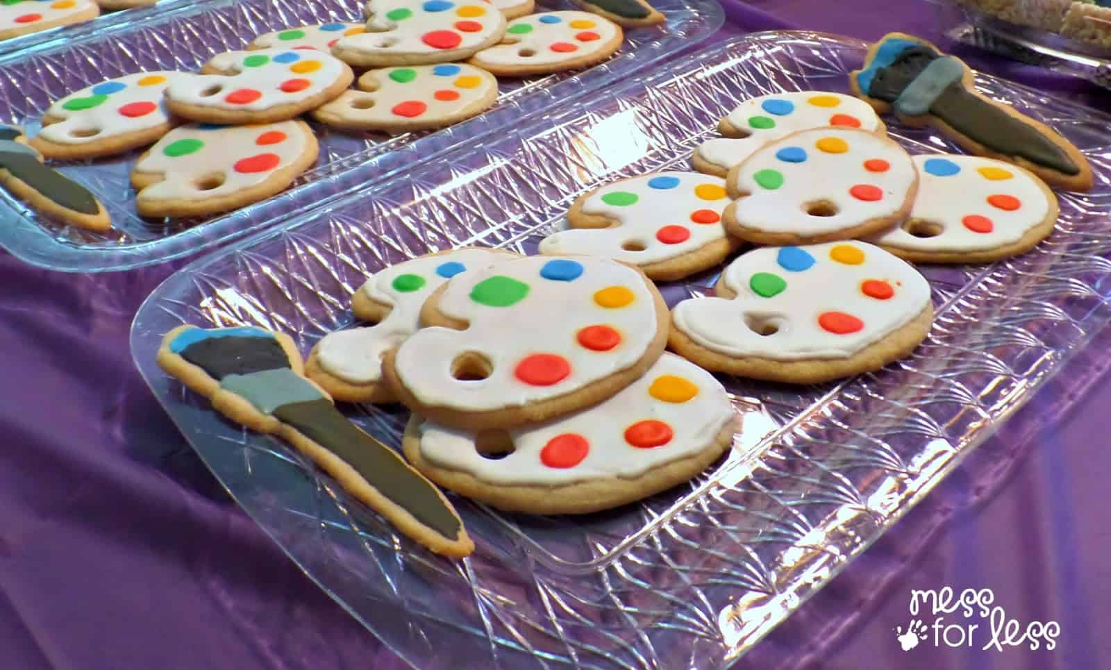 paint palette cookies for an art party