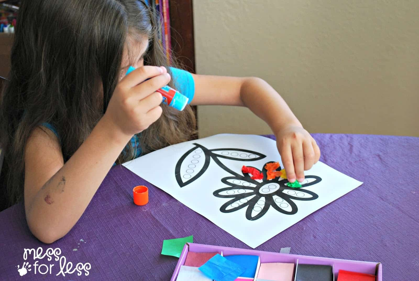 Fun Art Worksheets : Tissue paper flower art activity mess for less