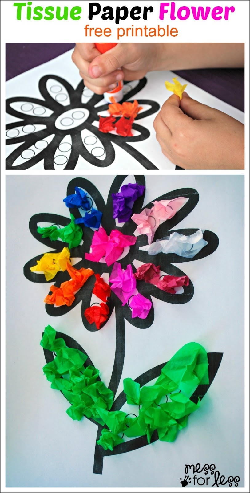 Tissue paper flower art activity mess for less tissue paper flower art activity jeuxipadfo Choice Image