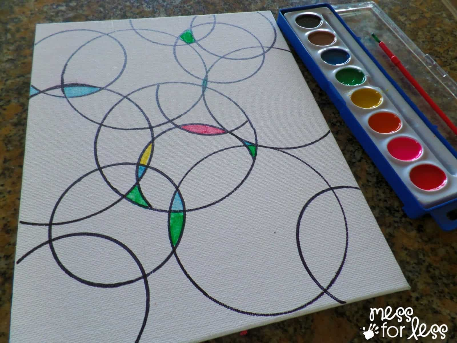 Watercolor circle art mess for less for Watercolor painting and projects
