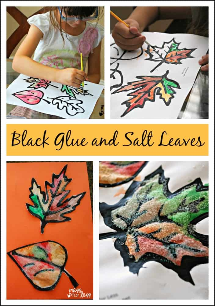 Black Glue and Salt Leaves fall craft - get your free leaf printable and make these gorgeous, textured Fall decorations.
