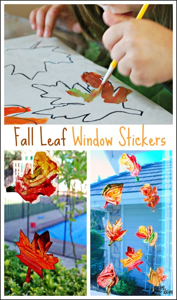 Contact Paper Window Stickers - Fall Leaves. These are so fun to create and look like beautiful sun catchers hanging in your window.
