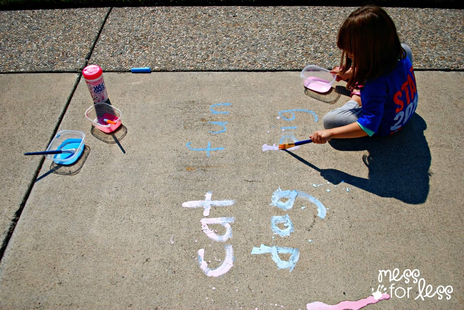 Painting words with sidewalk paint