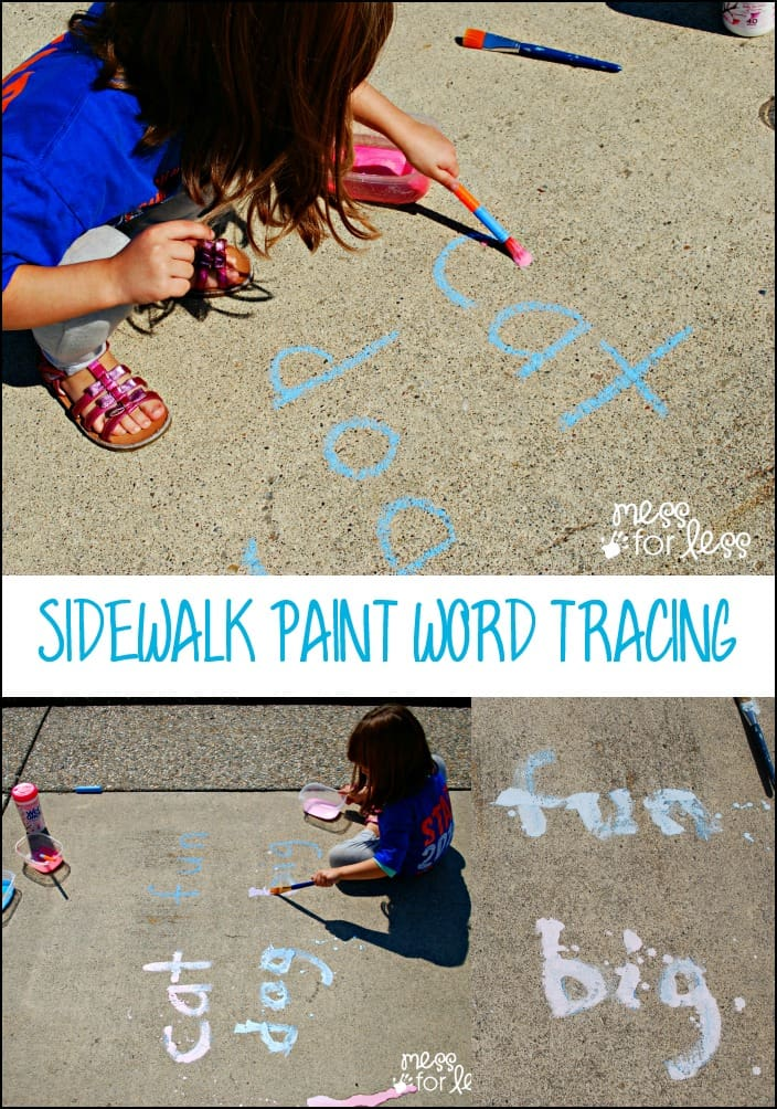 Sidewalk Paint Word Tracing Game with Wet Ones - Kids read, trace and paint with this fun game! Recipe for sidewalk paint included plus clean up tips with Wet Ones. #sponsored #wetones
