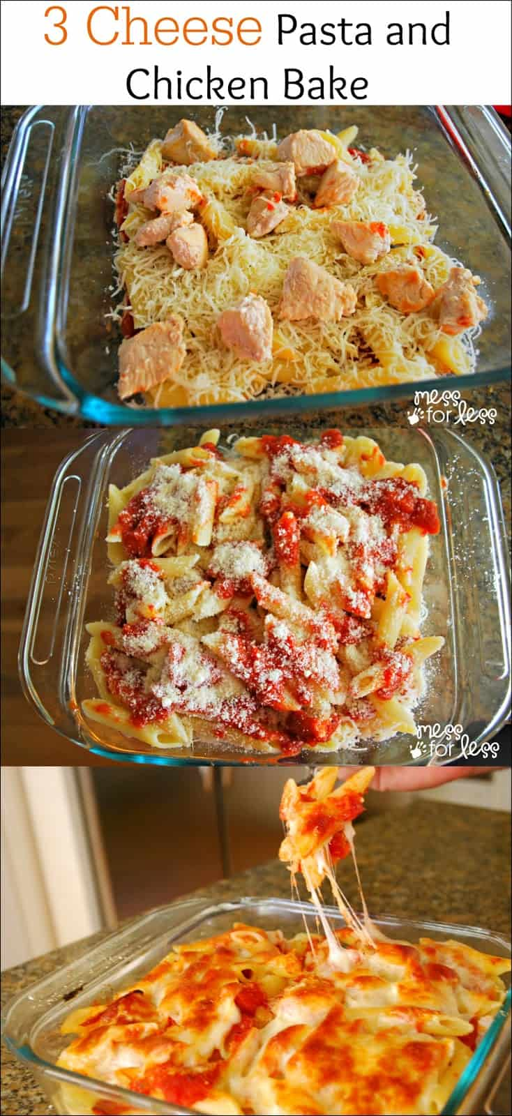 Healthy Three Cheese Chicken Pasta Bake Recipe — Dishmaps