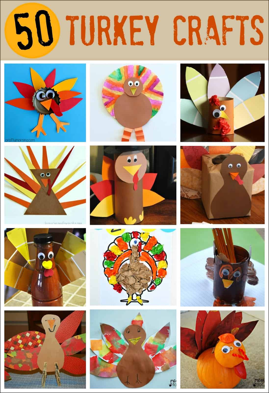 50 Turkey Thanksgiving Crafts - so many ways to make a turkey. Get ready to celebrate Thanksgiving with these fun kids crafts.