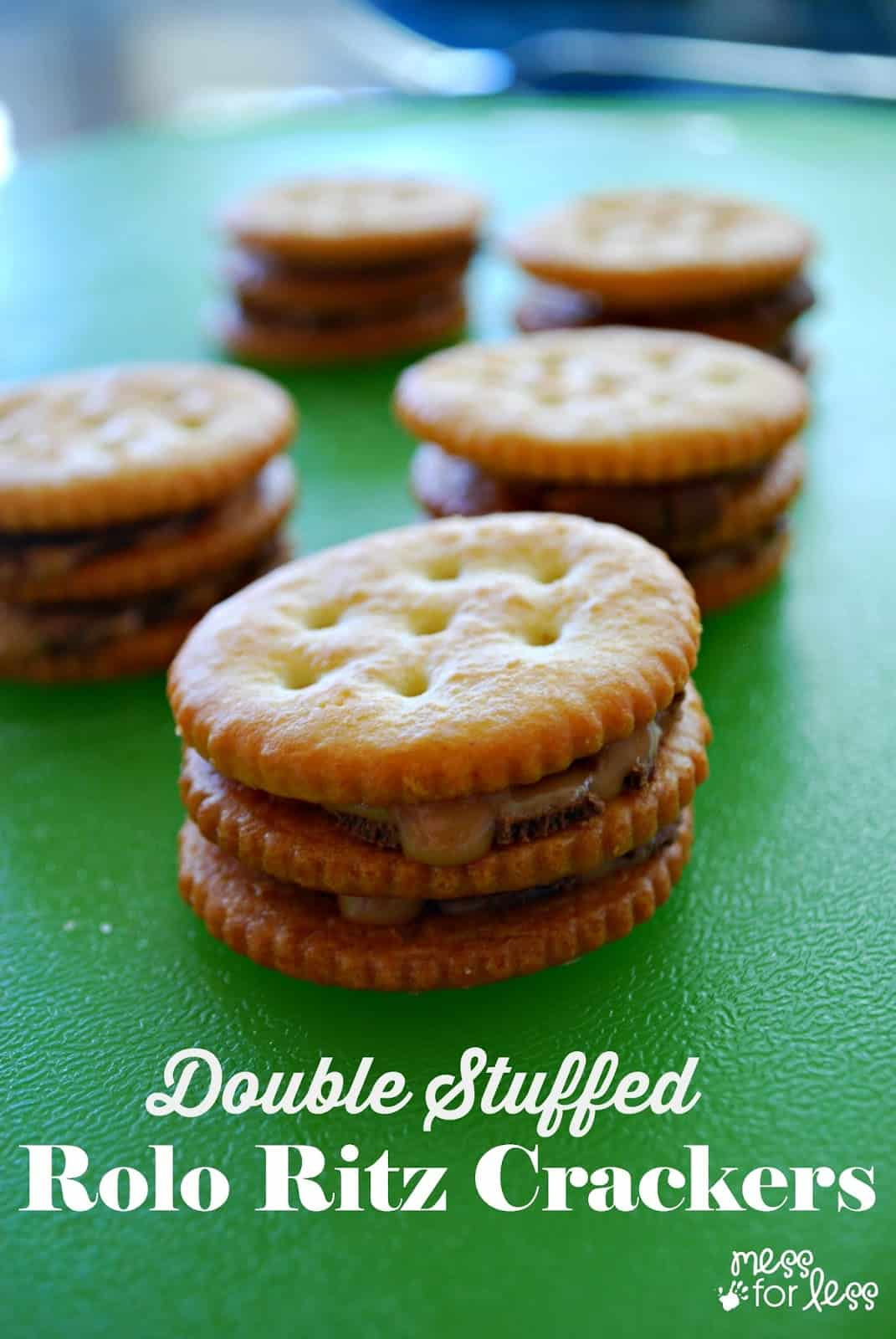 Double Stuffed Rolo Ritz Crackers - kick the classic stuffed Ritz up a notch! Fun snack that kids can help to make!