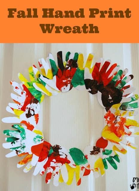 Handprint Wreath Craft Thanksgiving
