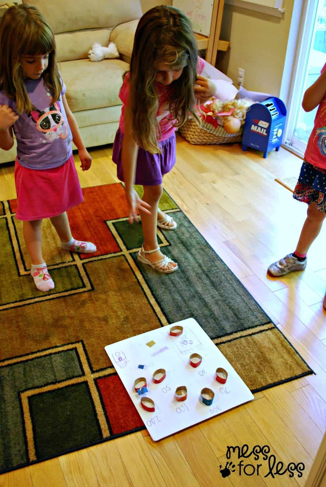 kids playing homemade game
