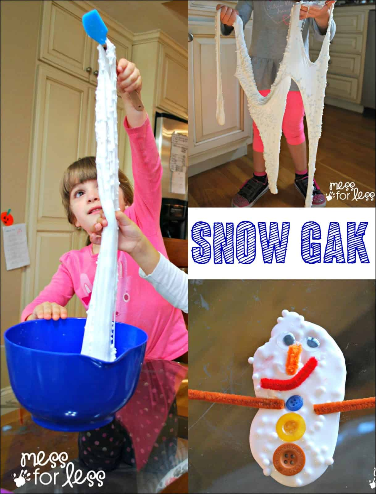 Snow Gak Sensory Play - simple to make snow slime will delight and amaze your kids as they stretch, squish and play.