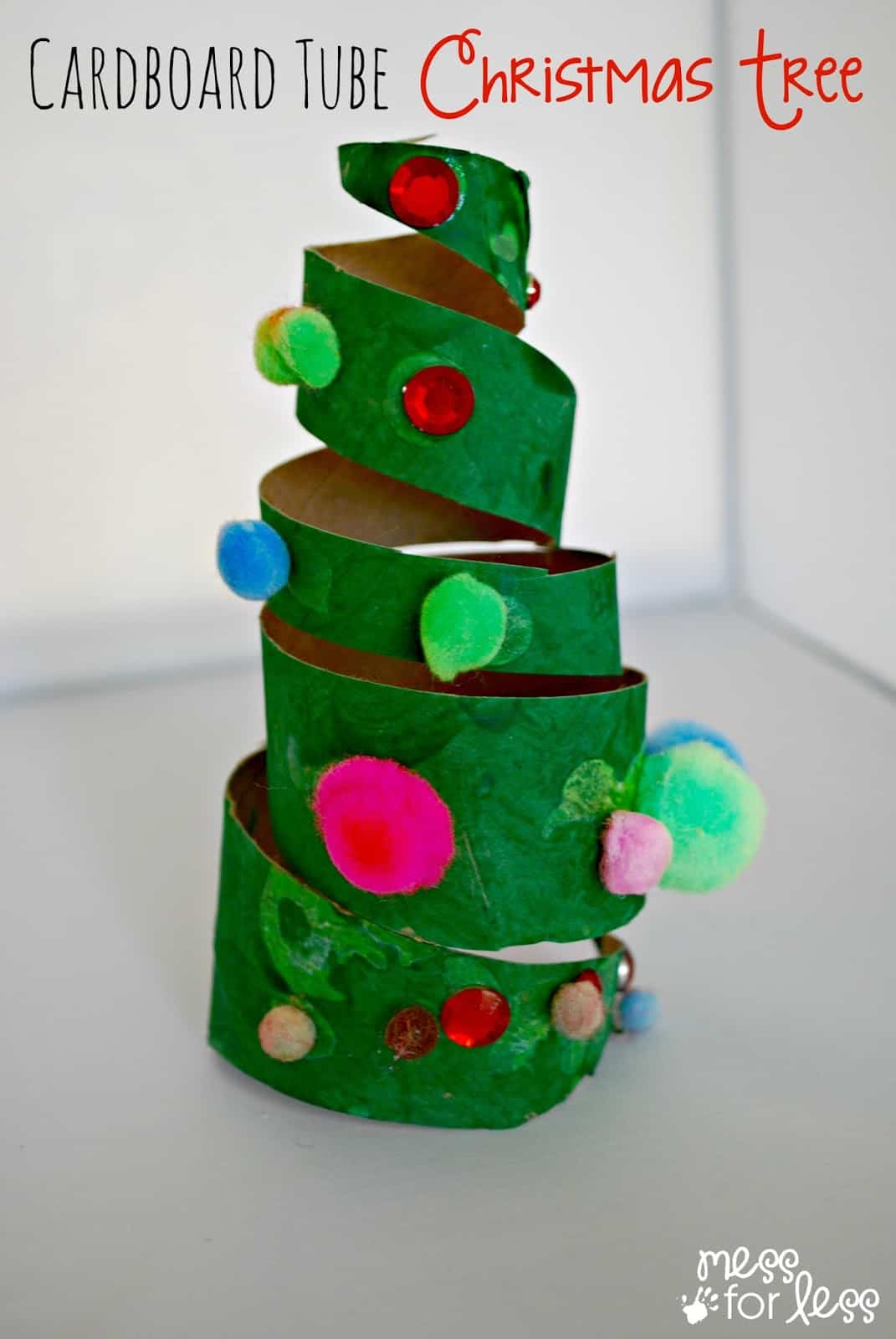 Christmas crafts for kids cardboard tube christmas tree for Christmas craft projects for kids