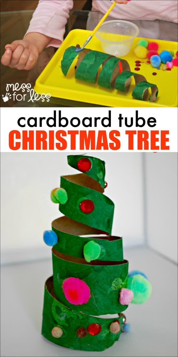 Christmas Crafts for Kids - Cardboard Roll Christmas Trees. Such a great way to used those empty tubes we all seem to have lying around. My kids had such fun decorating their trees! #christmas #christmascrafts #kidscrafts
