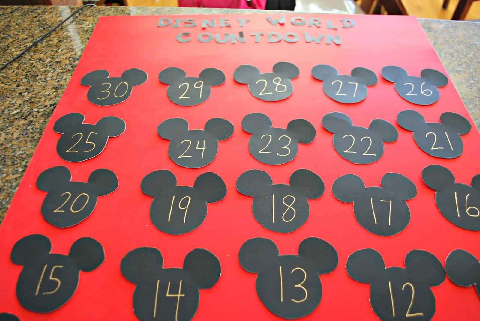 making a countdown calendar for a Disney World trip.