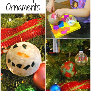 Homemade Christmas Ornaments with Tissue Paper