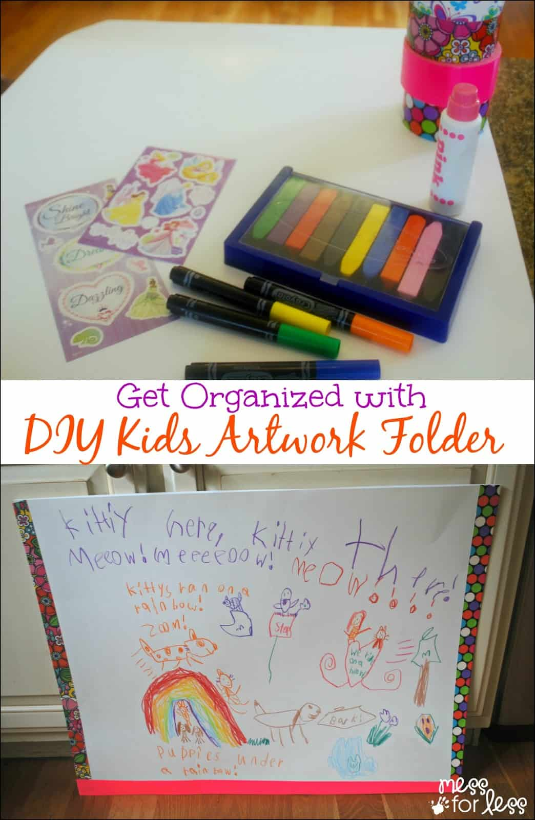 Get Organized with a DIY Kids Artwork Folder - a simple and fun way for kids to create a folder for all those papers!