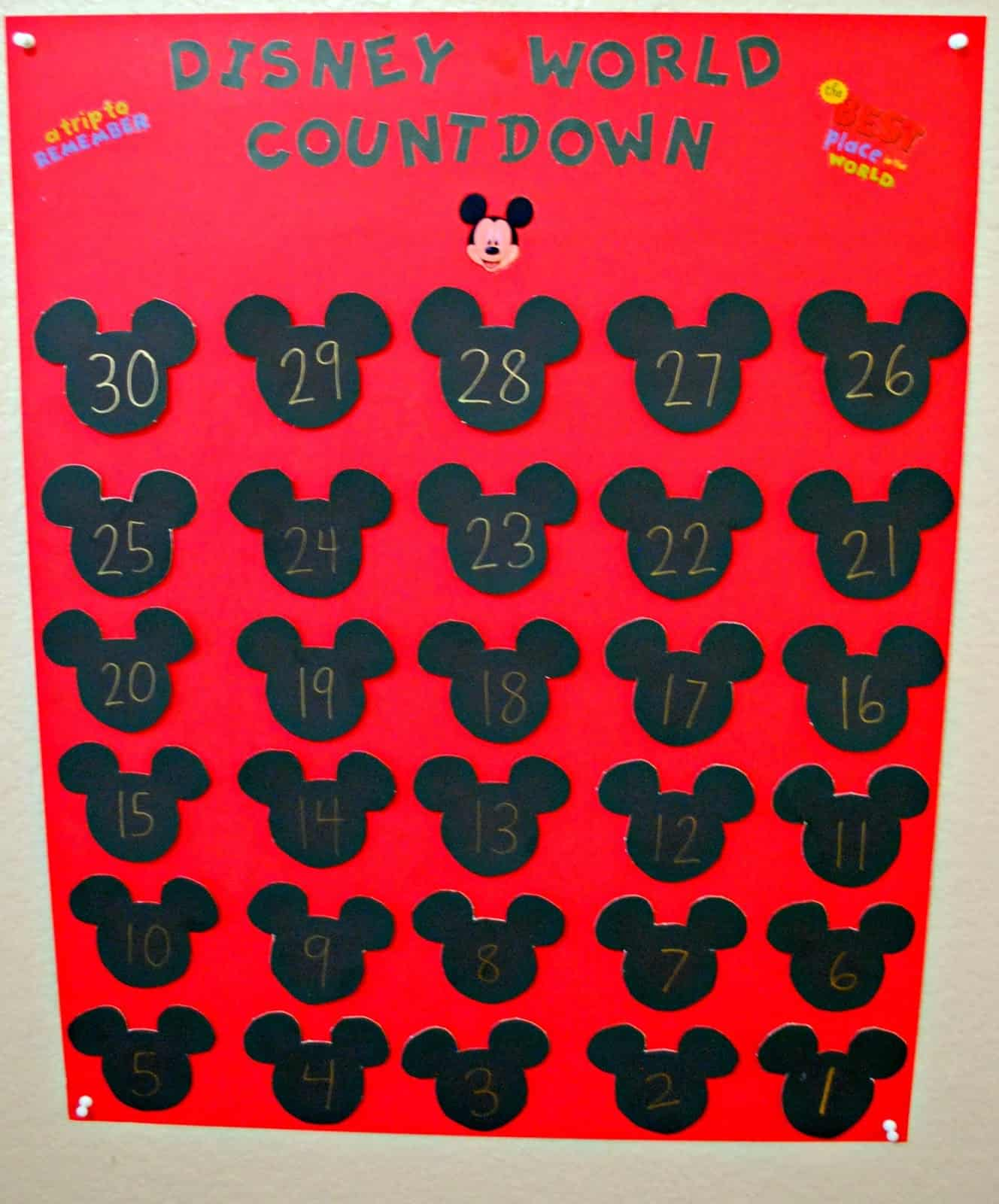image regarding Disney Countdown Calendar Printable titled Disney Globe Countdown Calendar - Mess for A lot less