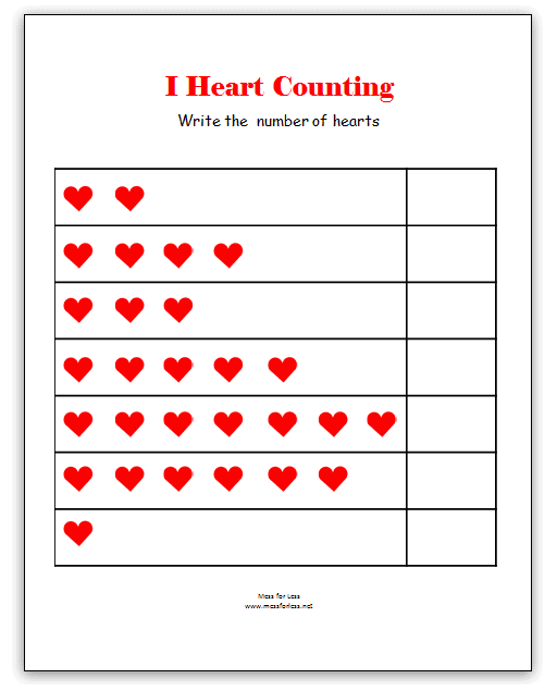Number Names Worksheets kinder worksheets math : Valentine's Math - Kindergarten Worksheets - Mess for Less