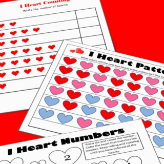Valentine's Math - Kindergarten Worksheets
