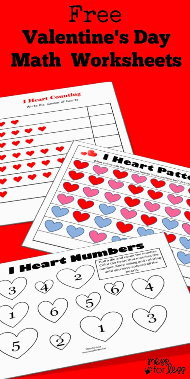 Valentine\'s Math - Kindergarten Worksheets - Mess for Less