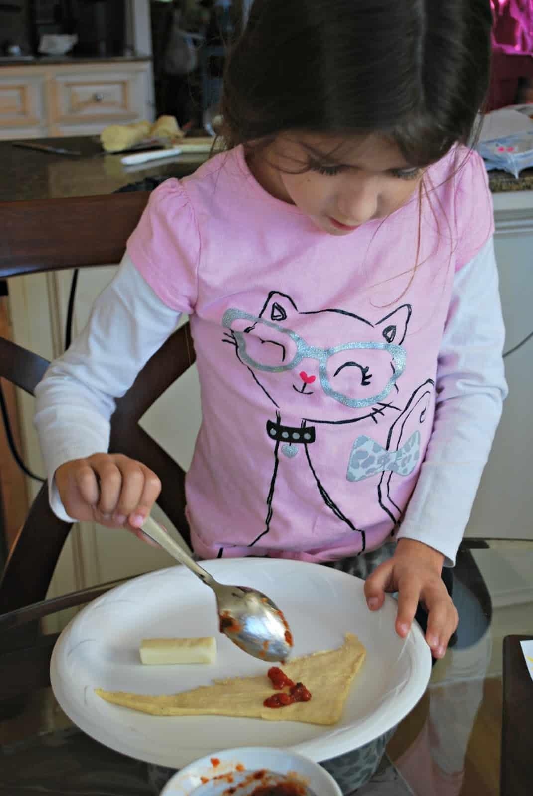 child making crescent roll recipes