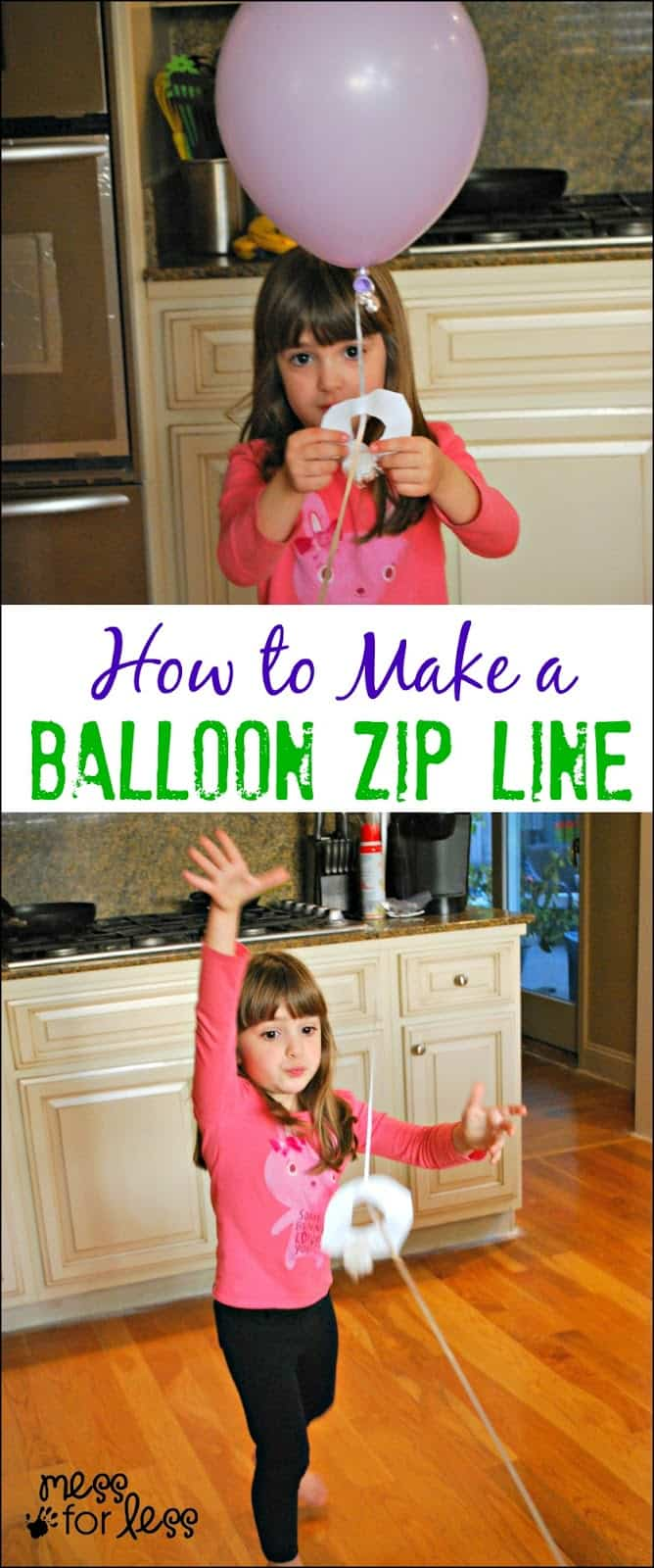 How to Make a Balloon Zip Line - find out how to use a helium balloon to make a fun zip line!